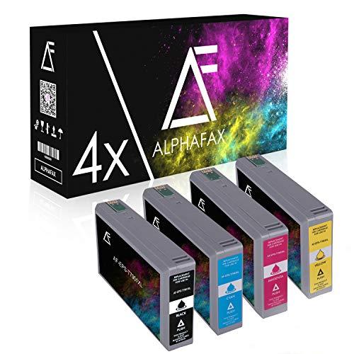 4 Tintenpatronen für Epson Workforce Pro WF-4600 5100 5600 Series 4630 5620 5690 DWF 5110 5190 DW C13 T7901 T7902 T7903 T7904 4010 Schwarz 62ml Color je 32ml