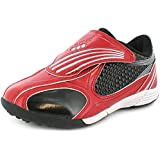 Childrens Touch Fastening Patent Astro Turf/Football Trainers. - Red/Silver - UK SIZES 6-3
