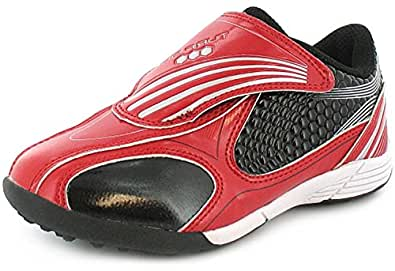 Childrens Touch Fastening Patent Astro Turf/Football Trainers. - Red/Silver - UK SIZE 3