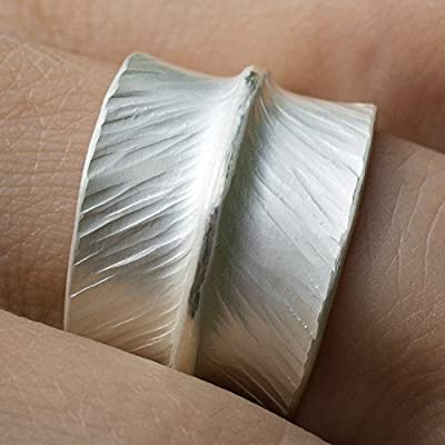 Bague en argent massif 925 large anneau martelé bijoux femme taille 10-26