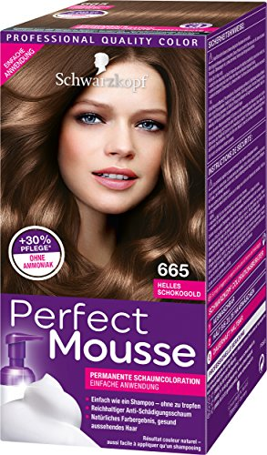Schwarzkopf Perfect Mousse Permanente Schaumcoloration, 665 Helles Schokogold Stufe 3, 3er Pack (3 x 93 ml)