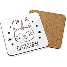 I'M A CATICORN POSAVASOS FELPUDO CORCHO CUADRADO JUEGO X4 - Animal Gato Unicornio Divertido