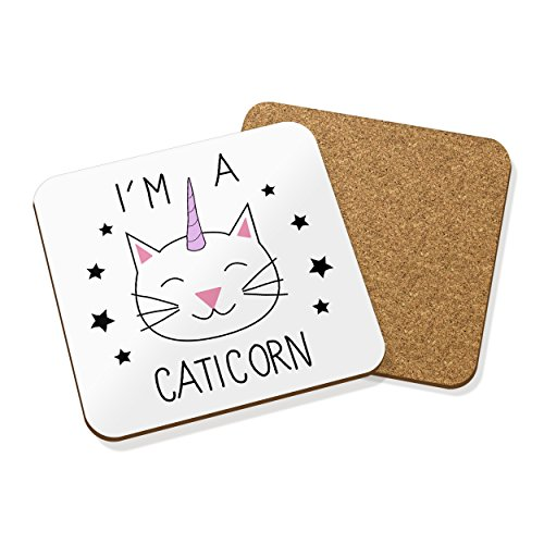 IM-A-CATICORN-DESSOUS-DE-VERRE-TAPIS-LIGE-carr-SET-X4-Chat-Animal-Licorne-Drle