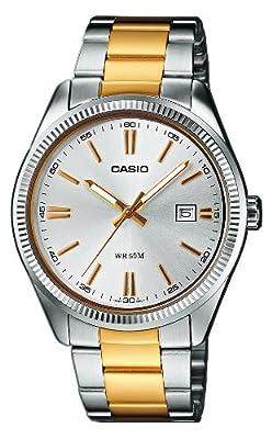 CASIO Collection MTP-1302SG-7AVEF - Reloj de caballero de cuarzo, correa de acero inoxidable color varios colores (con luz)
