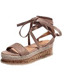 Sandales Plateforme Plate,Overdose Été Femme Chaussures Espadrilles Lacets à Bride Cheville en Cuir Confort Sandals
