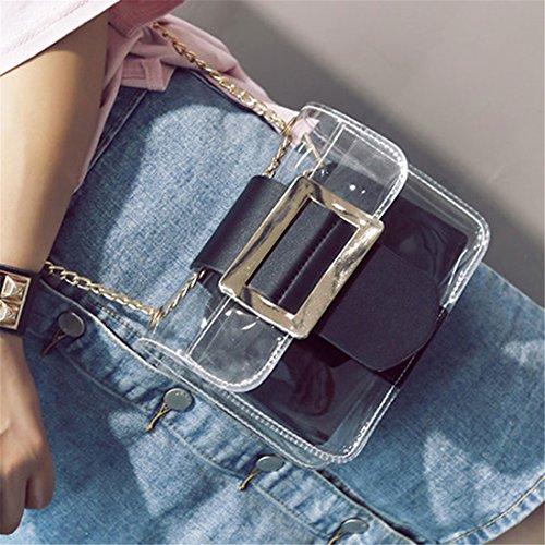 LPATTERN Umhängetasche Damen Transparent Schultertasche Handtasche Frauen Beutel Abendtasche ,Schwarz Schwarz
