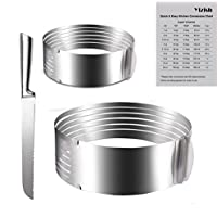 Yizish - Juego de cortador de tartas (2 piezas, acero inoxidable, cortador de anillas de 6 – 8 pulgadas con 9 – 12 pulgadas) + cuchillo para tartas de 20 cm