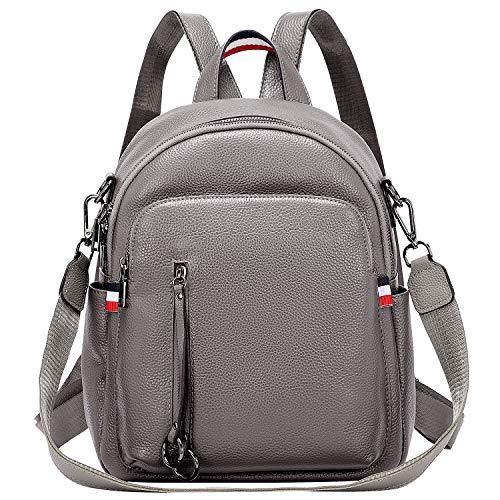 ALTOSY Echtes Leder Rucksack Damen Casual Daypack Elegant Tasche Mode Schultertaschen (S9, Grau)