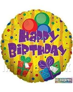 Betali 86167H-P regalos y globos de cumpleaños holográfico paquete único, largo-18 pulgadas, multicolor, talla única