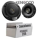 Peugeot 206 - Lautsprecher Boxen Kenwood KFC-S1676EX - 16cm 2-Wege Koax Auto Einbauzubehör - Einbauset