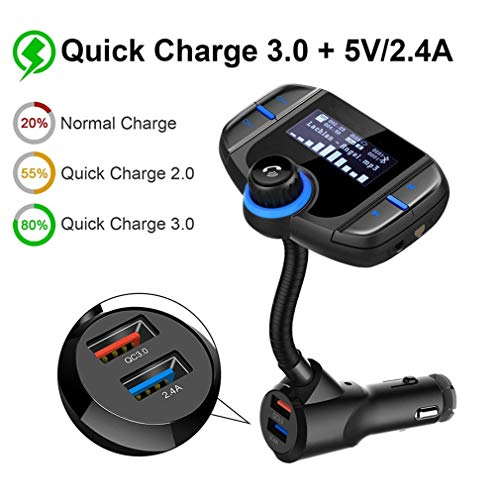 ZYX Wireless Radio Transmitter Adapter, Auto Bluetooth FM Transmitter, Bluetooth Auto Transmitter 1,7-Zoll-Display, 2.4A Dual-USB-Anschlüsse, AUX-Eingang/Ausgang, mit MP3-Player,Black