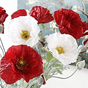 QQFTCM 6 Ramas Flor de Amapola Artificial Grande con Hojas de Flores Artificiales para el otoño otoño Decoración para el…