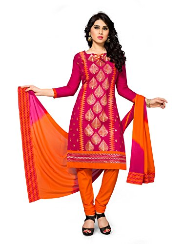 FabFactory Pink & Orange Cotton Embroidery Unstitched Semi Patiala Salwar Suit Dress...