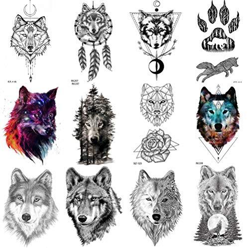 COKTAK 12 Hojas Bosque Lobo Realista Tatuajes Temporales