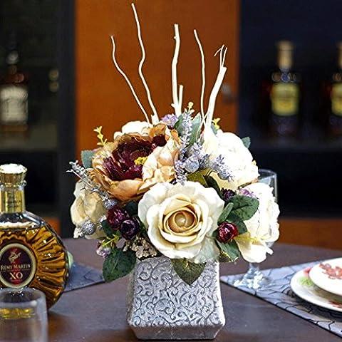 YHJ Fleurs fausses Style européen rétro simulation fleur faux fleur ensemble fleur de pivoine simulations fleurs Juanhua Home Furnishings salon faux décoration ( Couleur : A )