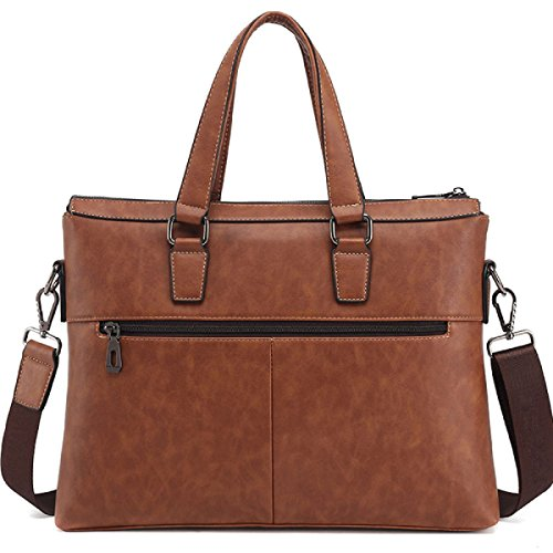 Männer PU Handtasche Business Aktenkoffer Umhängetasche Horizontale 14-Zoll-Computer Tasche Brown