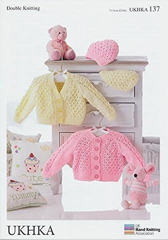 Double Knitting Pattern – Baby Round & V-Neck Cardigans & Hats (UKHKA 137)