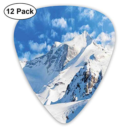 Guitar Picks - Abstract Art Colorful Designs,Mountain Landscape Ski Slope Winter Sport Telfer And Snowboarding Image,Unique Guitar Gift,For Bass Electric & Acoustic Guitars-12 Pack Anime-ski