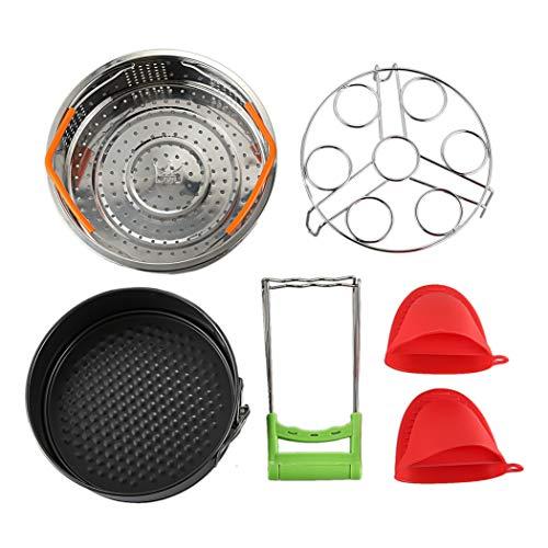 AHTOSKA Sofort-Topf-Zubehör-Set mit Dampfgarer, Eier-Dämpfgestell, antihaftbeschichtete Springform, Dämpfständer, 1 Paar Silikon C