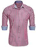 Burlady Herren Trachtenhemd Karierte Hemd Cargohemd Baumwolle Freizeit Oktoberfest Hemden