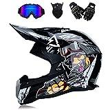 Erwachsener Off Road Dirt Fahrradhelm Motocross Motorrad ATV AM Mountainbike Vollhelm MX voller DOT Helm/Brille/Maske/Handschuhe (Jugend S-XXL, Style 6),Black,XL