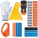 EEFUN Kit de herramientas de instalación para Ventana de coche vinilo de tono con cortador Snitty, enjuague amarillo Pp, enrejado de borde de fibra negro, enjuague de borde de gamuza naranja, guantes de trabajo, mini rascador con cuchillas reemplazables