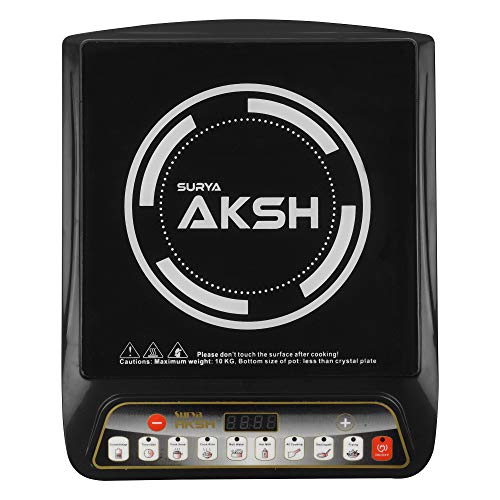 SURYA AKSH 2000 WATTS Crystal Glass Plate Induction COOKTOP (Black)