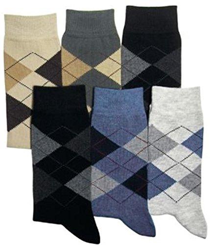 normani 6 Paar Herren Karo Socken mit Elasthan und breitem Komfortbund Größe 43-46 (Kariertes Herren-socken)