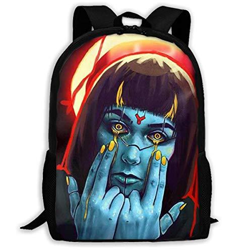ADGBag Unisex Adult School Backpack Goth Gothic Women Girl Blue Face Bookbag Casual Travel Bag Shoulder Bag Book Scholl Travel Backpack Kinderrucksack Rucksack Gothic School Girl
