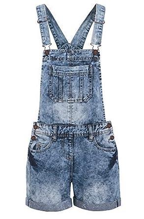NEW DENIM DUNGAREE SHORTS Womens Size 8 10 12 14 16: Amazon.co.uk ...