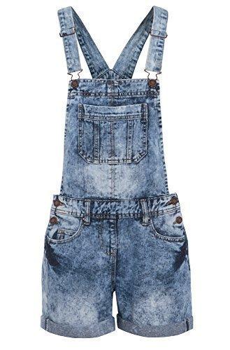 Damen Denim Latzhose Shorts, Größe 36-44 - Denim Blau, EU 42