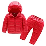 YYF Kinder Baby Daunenanzug Daunenhose Süß Mädchen Jungen Kleidungsset Daunenjacke mit Kaputze Winter Anzug