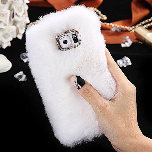FLOVEME Custodia per iphone se/5s in Pelo Artificiale Pelosa Morbida Protettiva Donna Ragazze Case Cover per iphone se/5s Nero Bianco