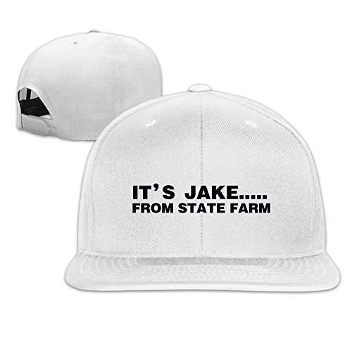hittings-its-jake-from-state-farm-adjustable-hats-flat-brim-baseball-caps-white