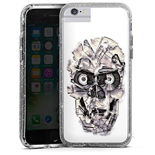 Apple iPhone 7 Bumper Hülle Bumper Case Glitzer Hülle Totenkopf Schädel Skull Bumper Case Glitzer silber