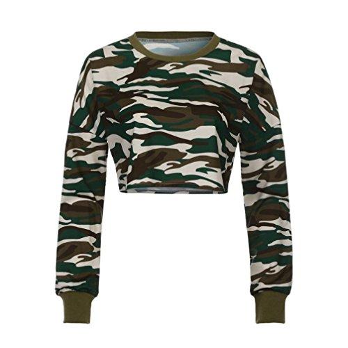 Camisas Mujer, Xinan ❤️Sudaderas mujer - ❤️Camisa de manga larga de camuflaje - ❤️Tops casuales (Camisas S, Camuflaje)