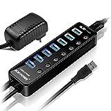 ECHTPower 7 Port USB 3.0 Hub Aktiv mit Netzteil, USB Verteiler USB-Erweiterung mit 15W Stromversorgung Datenhub für Apple MacBook,iMac, Notebook, Windows Laptops und Ultrabooks