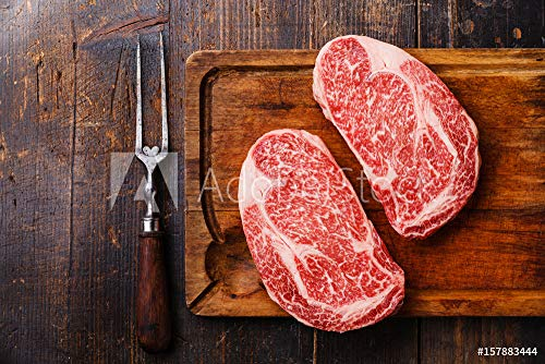 druck-shop24 Wunschmotiv: Raw Fresh Marbled Meat Steak Ribeye Black Angus and Meat Fork on Wooden...