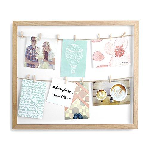 UMBRA Clothesline. Cadre Pêle-mêle Clothesline, coloris bois naturel pour environ 8 photos, dimension du cadre 50.8x43.2x3.8cm