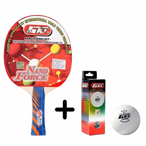 GKI Nano Force Table Tennis Combo Set (GKI Nano Force Table Tennis Racquet + GKI Premium 3 Star 40 Table Tennis Ball, Box of 3 - White)  available at amazon for Rs.1868