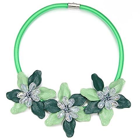 Femmes Cristal Collier En Forme De Fleur Unique Mode OL Chaîne Clavicule,Green-L