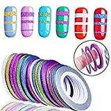 Meicailin 18pcs Nail Art Stripes Tape Set 6 Farbe Striping-Klebeband-Linie (1mm, 2mm und 3mm) selbstklebende Striping Tape Line Nail Art Tipps Dekoration Aufkleber