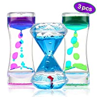 Sensory Liquid Motion Timer Toys 3 Pack for Kids and Adults, Lava Lamp Fidget Tool with Water and Colorful Floating Bubbler for Children with Autism, Calming and Anxiety Relief, Office Desk Decor
