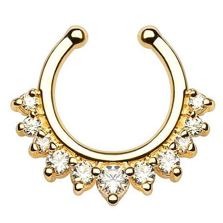 Kultpiercing - Nasenpiercing Septum Clicker Fake Multi Kristalle Gold