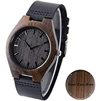 Wood Men Watch Engraved Ebony Watch for Men Custom Engraving Watches Groomsmen Gift Fathers Day Gift Free Engraving