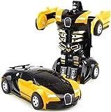 IVNZEI Modelli Auto Robot Remote Control Auto di deformazione del Giocattolo Toddlers elettrici Veicoli Giocattoli Giochi da Regalo for Il Compleanno di Natale (Color : Yellow)