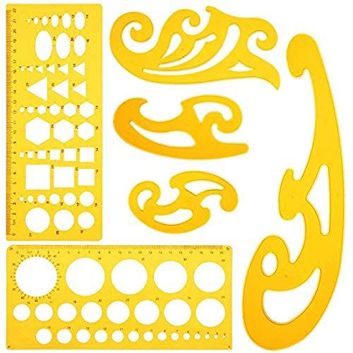 9 Stück Architektur-Zeichnungs-Vorlagen, Zeichenschablone Kurvenlineal Geometrie Set,Technische Zeichnungs-Schablonen Werkzeug,Französisches Kurvenlineal für künstlerisches Studio, Büro und Schule (Studio-designs Ausarbeitung)