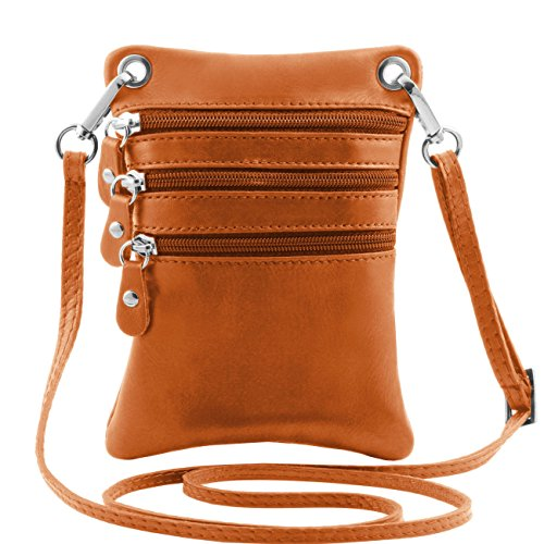 Tuscany Leather TL Bag - Tracollina in pelle morbida Nero Borse uomo in pelle Cognac