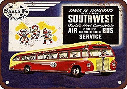 Odeletqweenry Metallschild, Blechschild, Motiv: Oldtimer, 1953 Santa Fe Trailways First Air Conditioned Buses Vintage Look Reproduktion Blechschild, 30,5 x 45,7 cm -