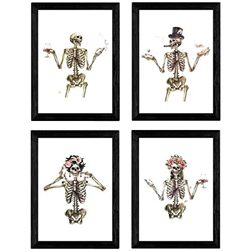 Nacnic Set de 4 láminas Cuatro Esqueletos con Disfraces. Posters...